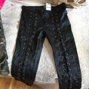 Black lace up pants